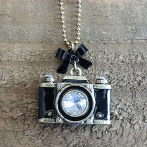 Betsey Johnson Camera Pendant Long Necklace
